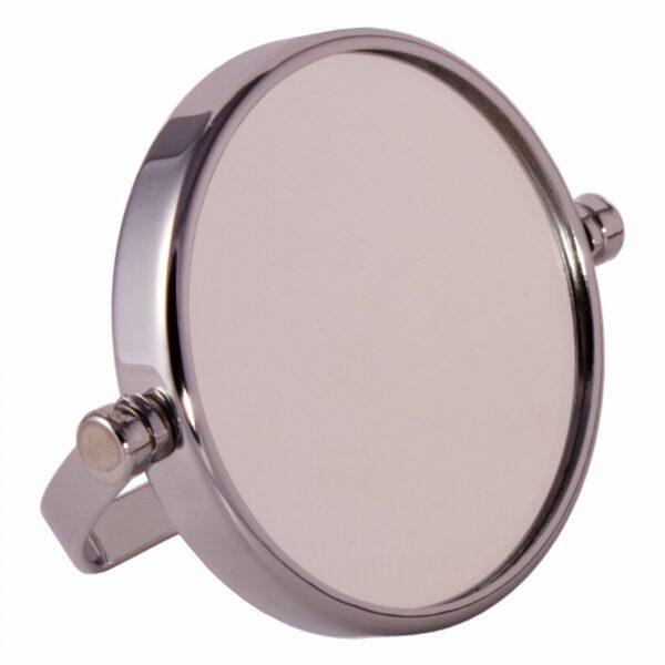 FMG Small Round Chrome Free Standing 7X Magnifying Travel Mirror 7cm Diameter-0
