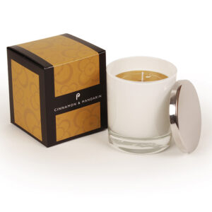 Pintail Candles Large Scented Candle in White Glass - Cinnamon & Mandarin-0