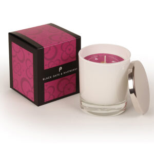Pintail Candles Large Scented Candle in White Glass - Black Date & Raspberry-0