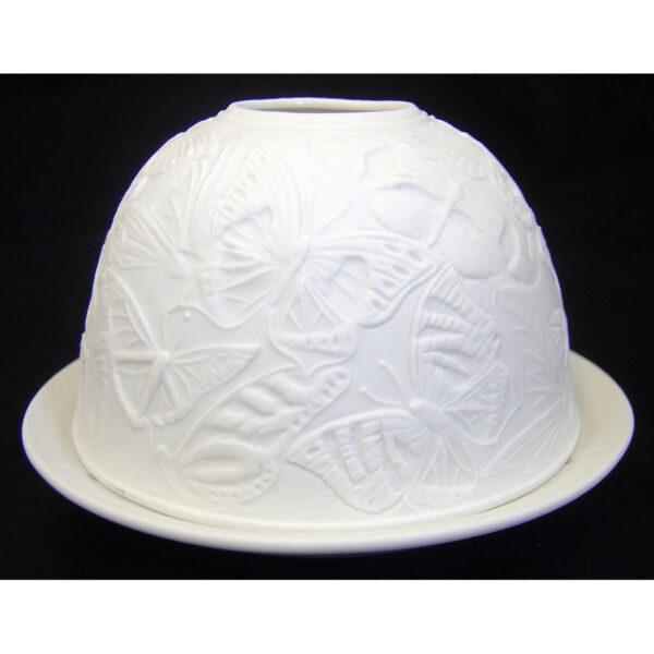 Fine Chinese Porcelain Lithophane Tea Light Holder - Swans-5685
