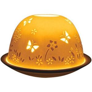 Fine Chinese Porcelain Lithophane Tea Light Holder - Butterflies-0
