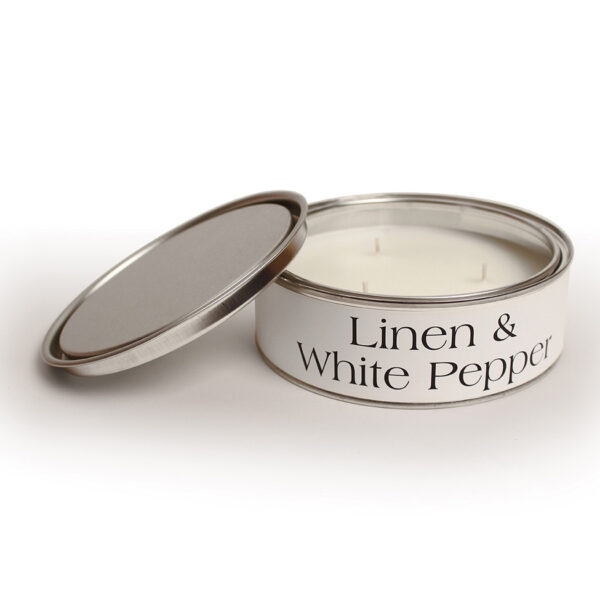 Pintail Candles Large 3 Wick Scented Candle Tin - Linen & White Pepper-0