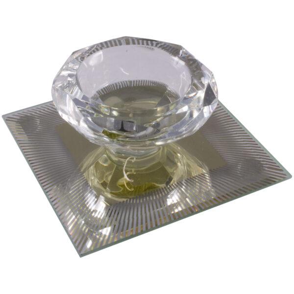 Silver Sparkle Lines Glass Diamond Single Tealight Holder