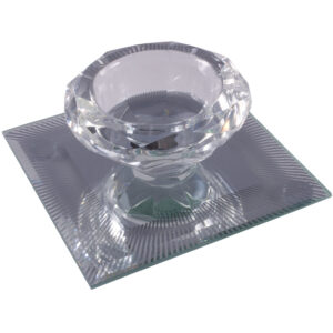 Silver Sparkle Lines Glass Diamond Single Tealight Holder