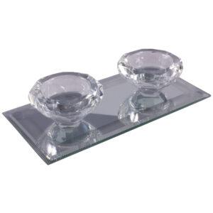 Silver Sparkle Lines Glass Diamond Double Tealight Holder