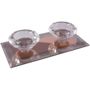 Silver Sparkle Lines Glass Diamond Double Tealight Holder