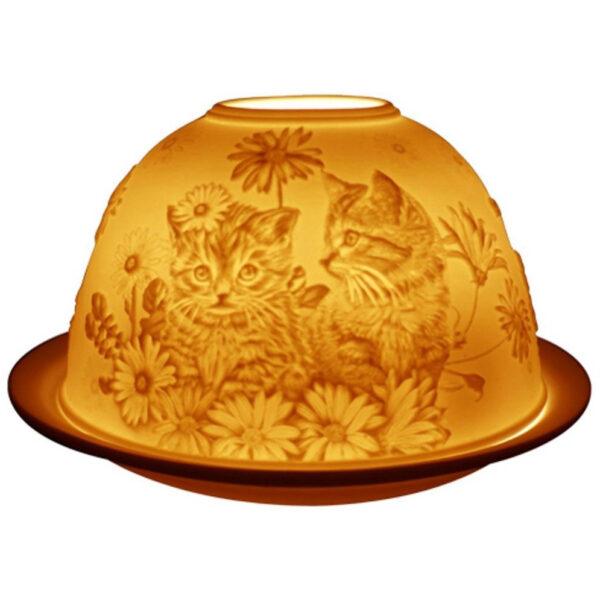 Fine Chinese Porcelain Lithophane Tea Light Holder - Kittens-0