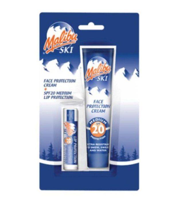 Malibu Ski Duo Face Protection Cream SPF20 + Lip Protection SPF 20-0