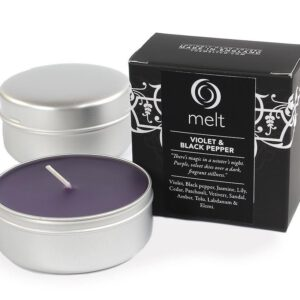 Melt Travel Tin Hand Poured Scented Candle - Violet & Black Pepper-0