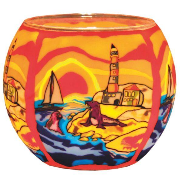 Plaristo Glowing Glass 11cm Tealight Holder - Sea Side-0