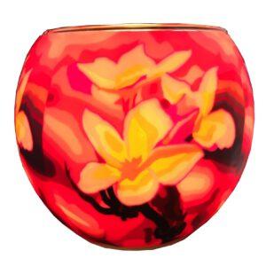 Plaristo Glowing Glass 11cm Tealight Holder - Magnolia-0