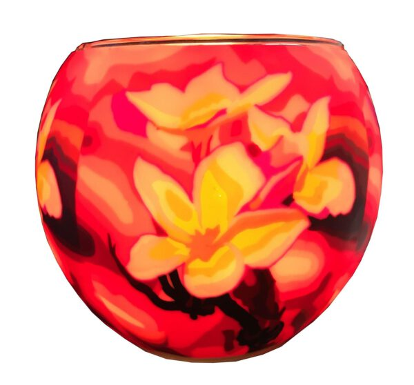 Plaristo Glowing Glass 11cm Tealight Holder - Magnolia-0