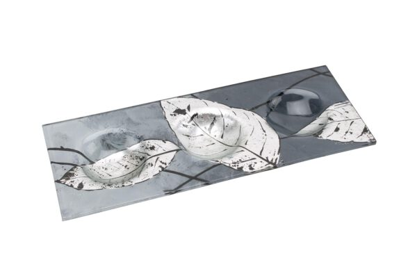 Silver Leaf Decorative Glassware Triple Tea Light Holder-0