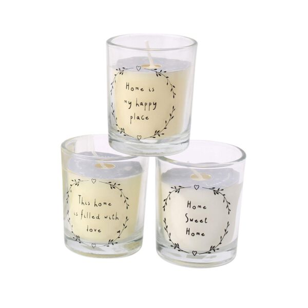 Set of 3 Assorted Mini Scented Candles in Glass Jar-0