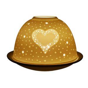 Fine Chinese Porcelain Lithophane Tea Light Holder by Welino - Twinkling Hearts-0